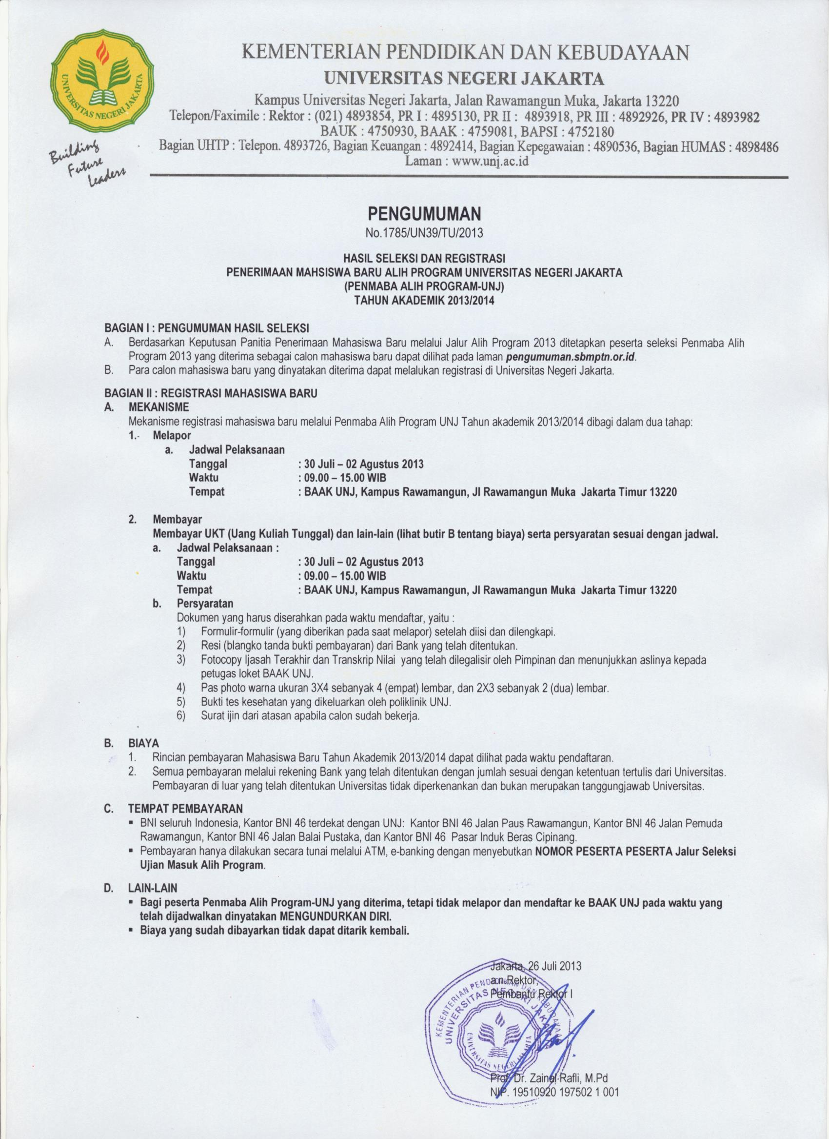 Pengumuman Penmaba (Jalur MANDIRI) Alih Program UNJ Tahun 2013/2014